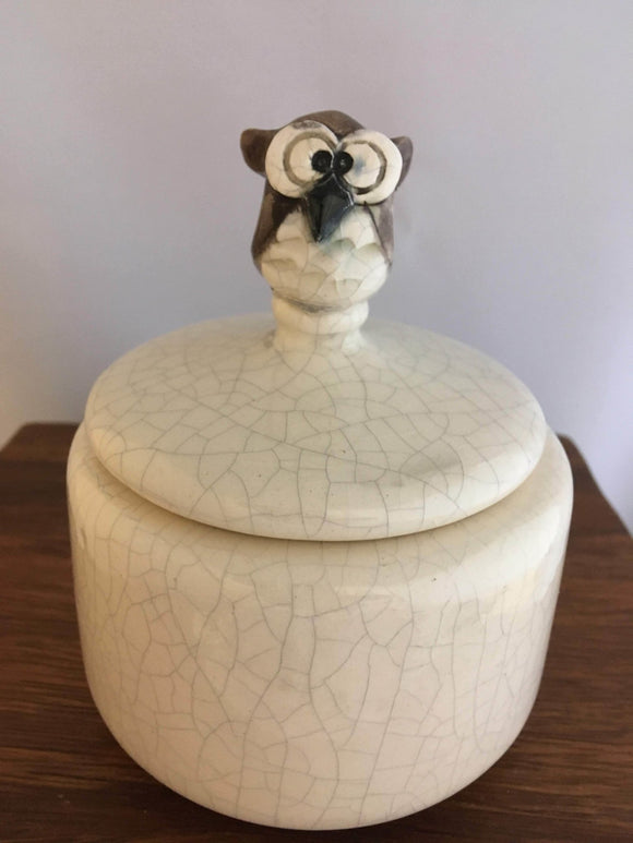 Brown Owl Lidded Box, Pottery, White Crackle Glaze - Two Hoots Gift Gallery