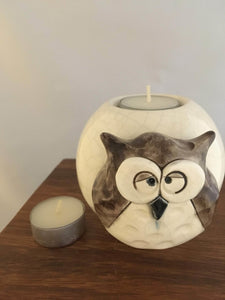 Brown Owl Tealight Candle Holder, Pottery, White Crackle Glaze - Two Hoots Gift Gallery