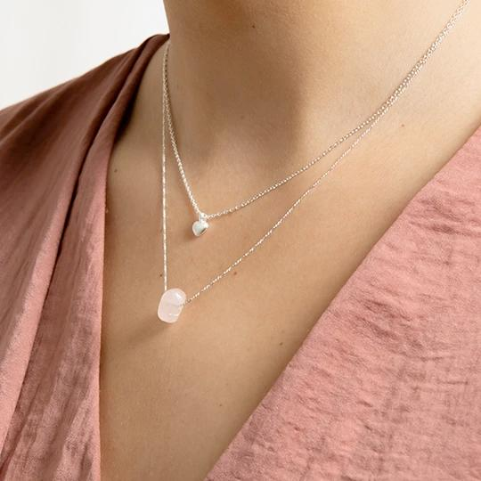 Chakra Silver Necklace, Rose Quartz Stone, Heart Chakra - Two Hoots Gift Gallery