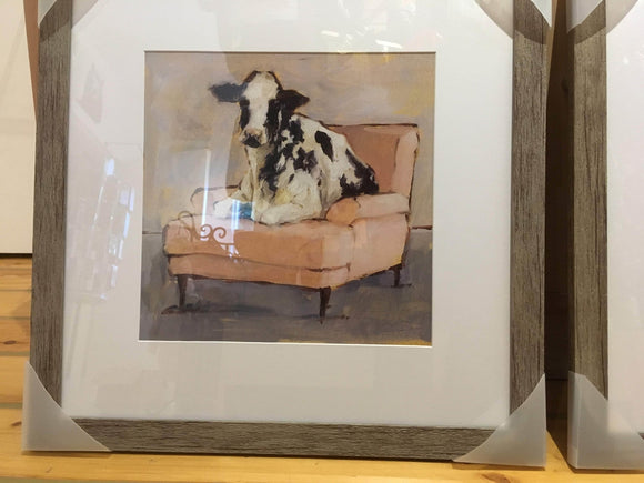 Cow Seated on Pink Chaise, Framed Art Print, 18