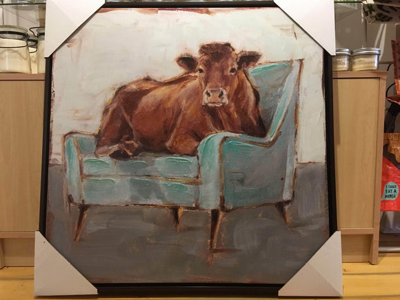 Cow Seated on Teal Chaise, Canvas Art Print with Frame, 30