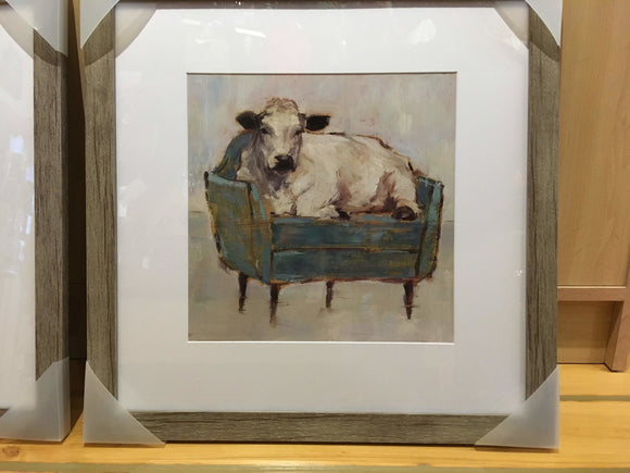 Cow Seated on Teal Chaise, Framed Art Print, 18