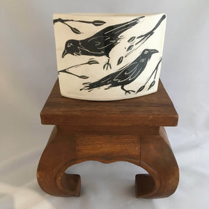 Crow / Raven Pottery, Altered Vase, Leaf Detail - Two Hoots Gift Gallery