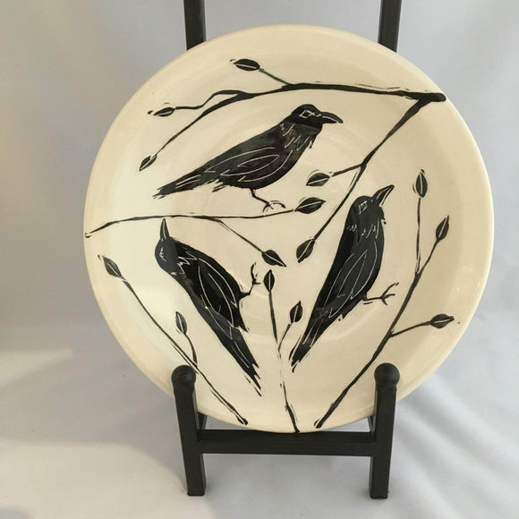 Crow / Raven Pottery, Large Round Serving Platter, Leaf Detail - Two Hoots Gift Gallery