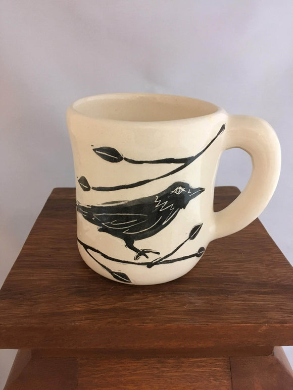 Crow / Raven Pottery Mug, Leaf Detail - Two Hoots Gift Gallery