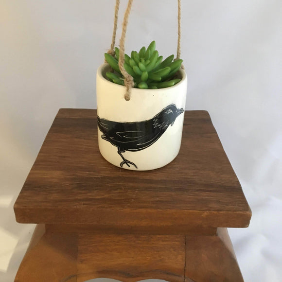 Crow / Raven Pottery Plant Pot, Hanging, White Crackle Glaze - Two Hoots Gift Gallery