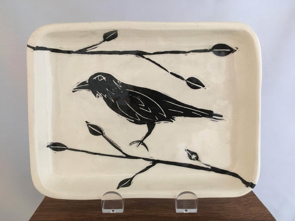 Crow / Raven Pottery, Rectagular Serving Dish, Leaf Detail - Two Hoots Gift Gallery