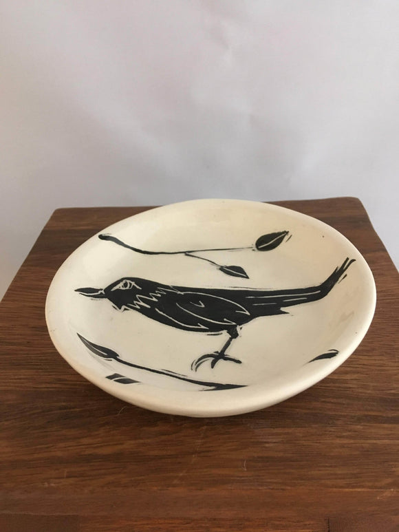 Crow / Raven Pottery, Small Round Serving Dish, Leaf Detail - Two Hoots Gift Gallery