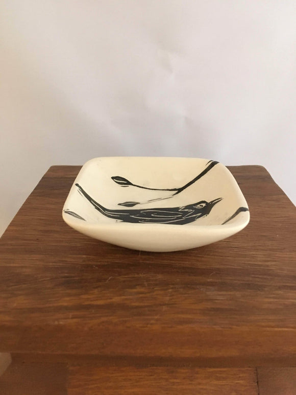 Crow / Raven Pottery, Small Square Serving Dish, Leaf Detail - Two Hoots Gift Gallery