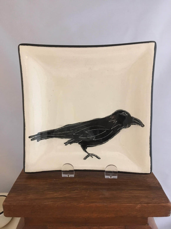 Crow / Raven Pottery, Square Serving Plate, Leaf Detail - Two Hoots Gift Gallery