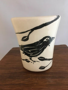 Crow / Raven Pottery Tumbler, Leaf Detail - Two Hoots Gift Gallery