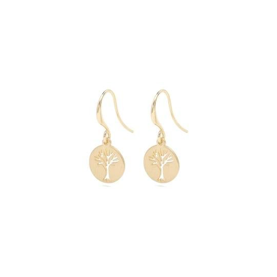 Elin Gold Tree Coin Shepherd's Hook Earrings - Two Hoots Gift Gallery