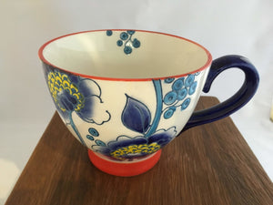 Fancy Coffee or Tea Cups: Blue Floral Design - Two Hoots Gift Gallery