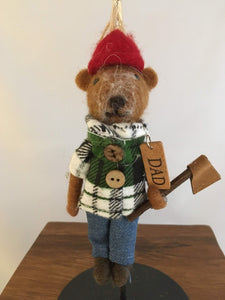 Felted Dad Bear, Green-White Plaid Jacket, Woodsman's Axe - Two Hoots Gift Gallery