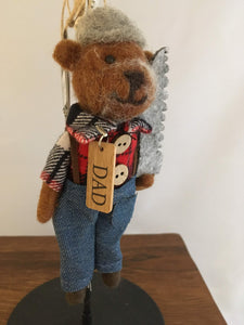 Felted Dad Bear, Red-White Plaid Jacket, Woodsman's Saw - Two Hoots Gift Gallery