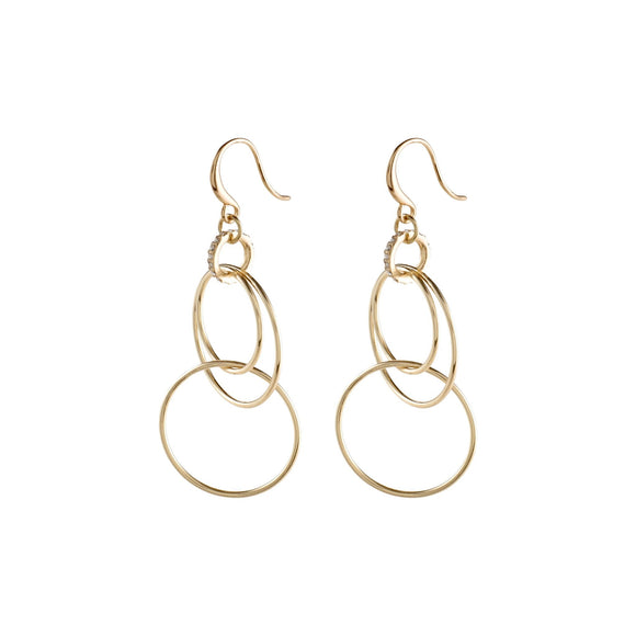 Fire Gold Cascade of Hoops, Shepherd's Hook Earrings - Two Hoots Gift Gallery