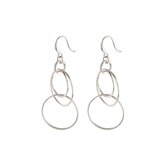 Fire Silver Cascade of Hoops, Shepherd's Hook Earrings - Two Hoots Gift Gallery
