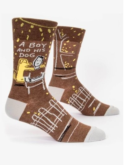 Fun Men's Socks, A Boy and His Dog - Two Hoots Gift Gallery