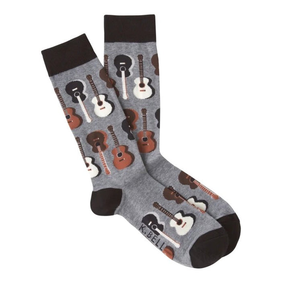 Fun Men's Socks, Acoustic Guitars - Two Hoots Gift Gallery