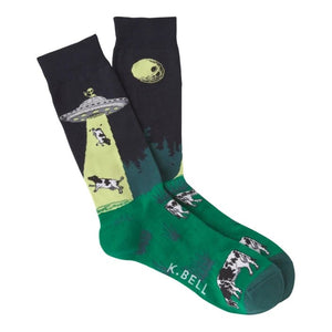 Fun Men's Socks, Cow Alien Abuduction - Two Hoots Gift Gallery