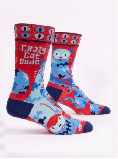 Fun Men's Socks, Crazy Cat Dude - Two Hoots Gift Gallery