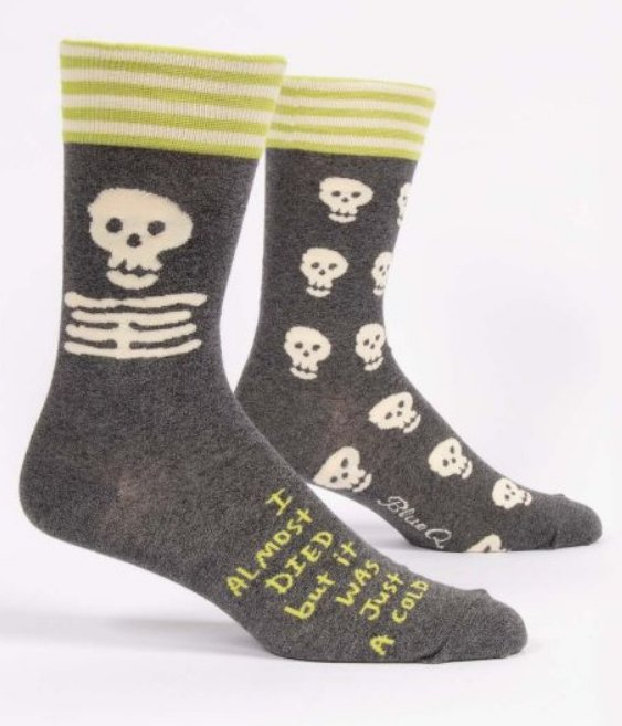 Fun Men's Socks, I Almost Died...But It Was Just a Cold - Two Hoots Gift Gallery
