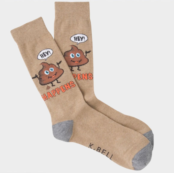 Fun Men's Socks, Shit Happens - Two Hoots Gift Gallery