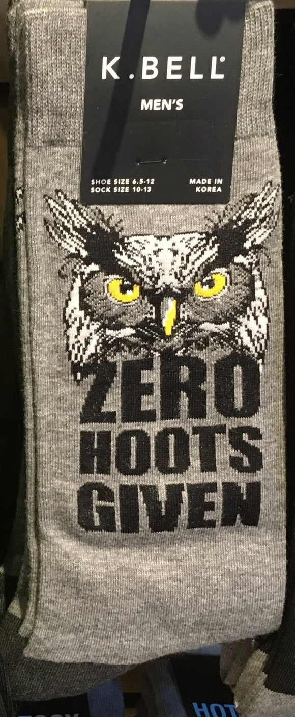 Fun Men's Socks, Zero Hoots Given - Two Hoots Gift Gallery