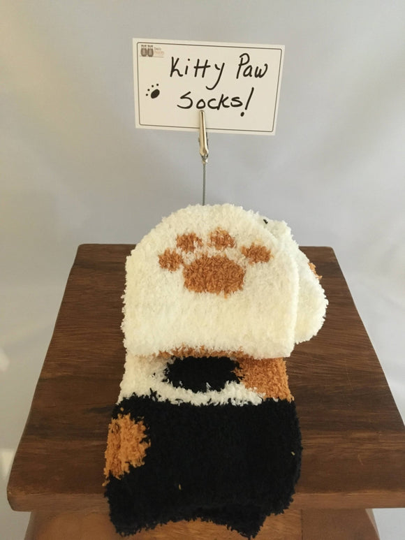 Fun Women's Socks, Cat Paws, Calico Chenille - Two Hoots Gift Gallery