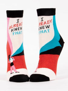 Fun Women's Socks, I Already Knew That!, Ankle Socks - Two Hoots Gift Gallery