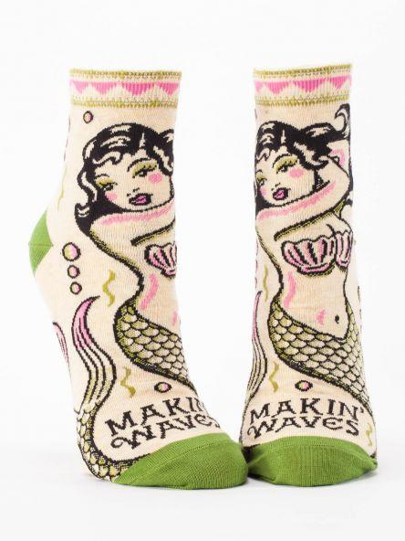 Fun Women's Socks, Makin' Waves Mermaid, Ankle Socks - Two Hoots Gift Gallery