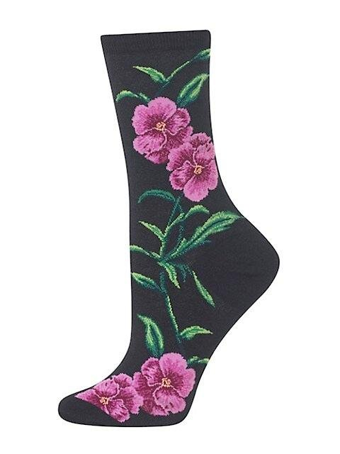 Fun Women's Socks, Pansy Flowers - Two Hoots Gift Gallery