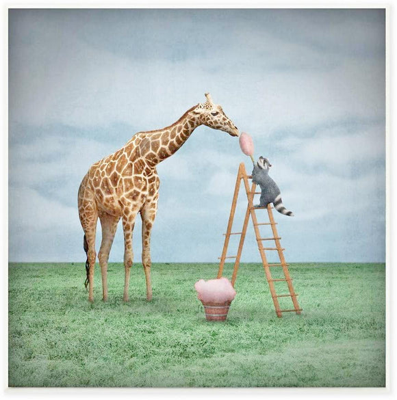 Giraffes Like Cotton Candy, Framed Art Print, 25