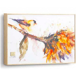 "Gold Finch, Framed Canvas Print by Dean Crouser, approx 8"" x 12"" - Two Hoots Gift Gallery"