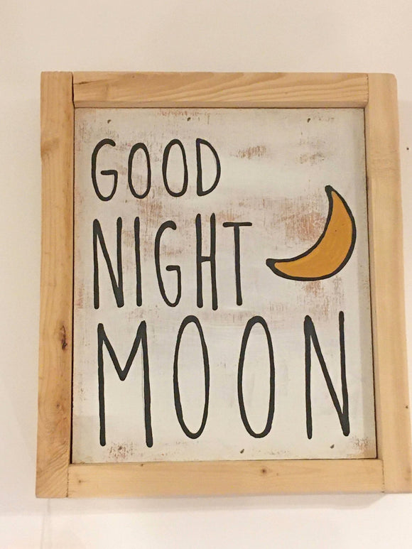 Good Night Moon, Hand-Painted on Wood, Wood Framed, 9