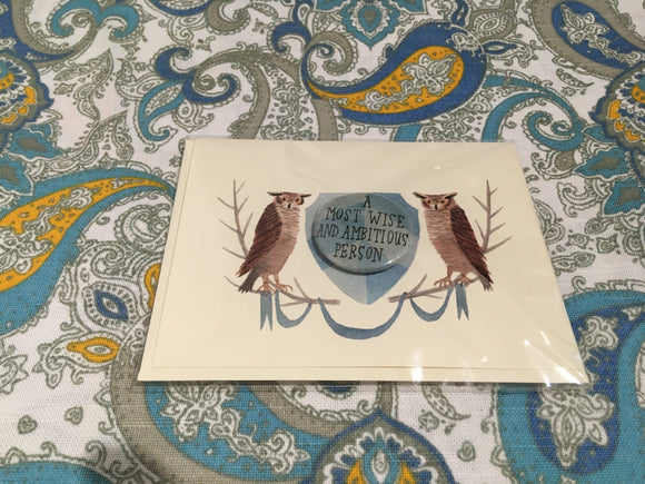 Greeting Card, Graduation, A Most Wise and Ambitious Person - Two Hoots Gift Gallery