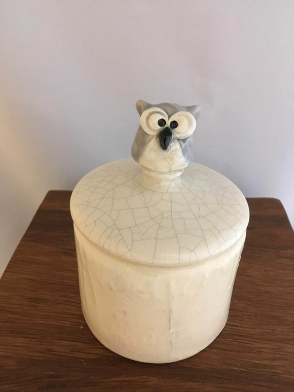 Grey Owl Lidded Box, Pottery, White Crackle Glaze - Two Hoots Gift Gallery