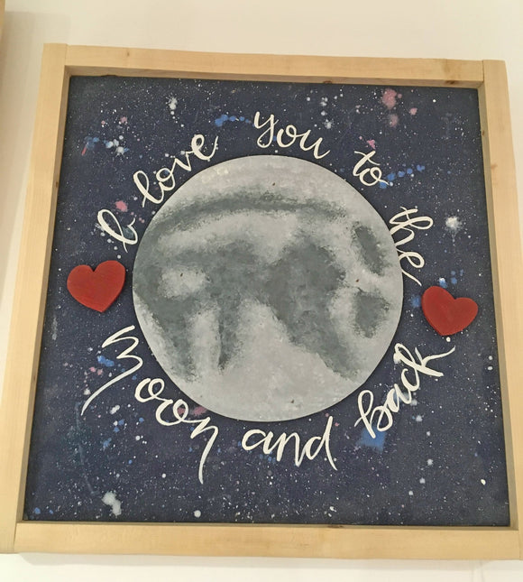 Love You to The Moon and Back, Hand-Painted on Wood, Wood Framed, 14.5