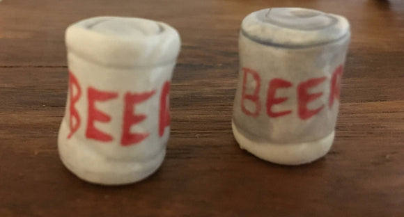 Pottery Beach Accessories, Beer Can, Handmade Clay - Two Hoots Gift Gallery