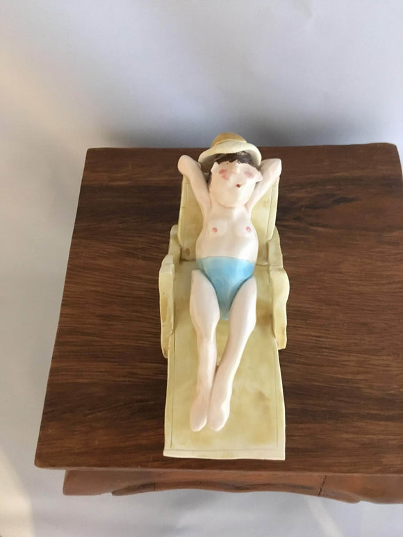 Pottery Beach Chair People, Man, Brown Hair, Yellow Hat, Light Blue Speedo - Two Hoots Gift Gallery