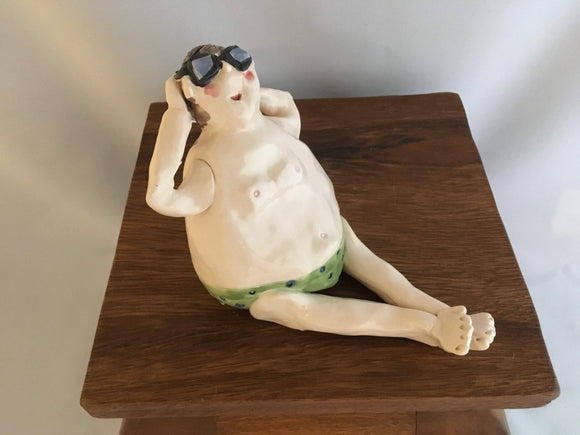 Pottery Beach People, Sitting Man, Large, Brown Hair, No Hat, Glasses, Green Polka-Dot Speedo - Two Hoots Gift Gallery