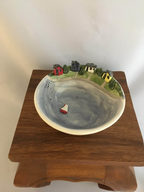 Pottery Bowl, Cottage Lake and Sailboat Design - Two Hoots Gift Gallery