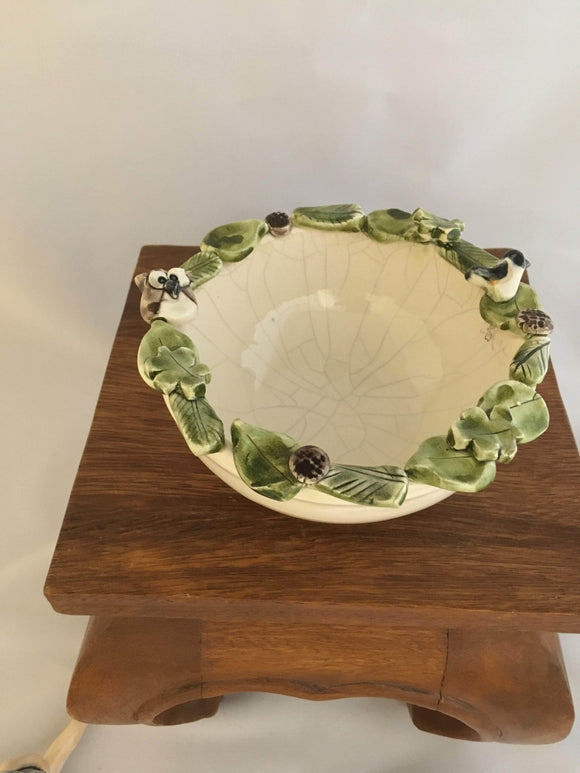Pottery Bowl, Woodland Owl Trim, White Crackle Glaze - Two Hoots Gift Gallery