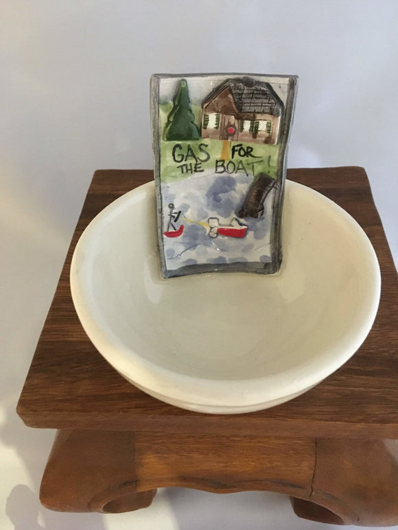 Pottery Coin Bowl, Gas for the Boat, Donations - Two Hoots Gift Gallery