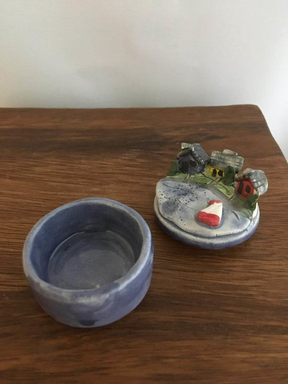 Pottery Ring or Pill Box, Cottage Lake Design - Two Hoots Gift Gallery