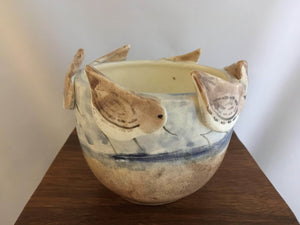 Pottery Vase, Sandpiper Design - Two Hoots Gift Gallery
