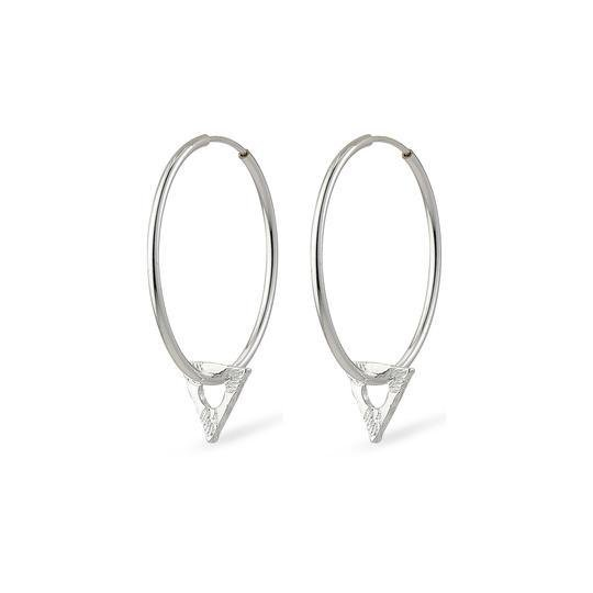 Silver Hoops with Triangle Charm - Two Hoots Gift Gallery