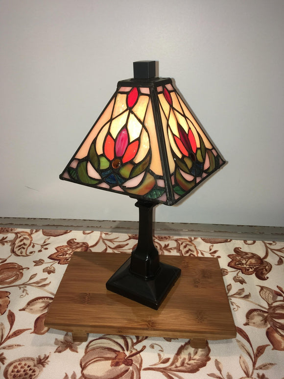 Tiffany-Style Shelf Lamp, Red Lotus - Two Hoots Gift Gallery