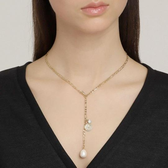 Urd Pearl, Crystal, and Coin Gold Y Necklace - Two Hoots Gift Gallery