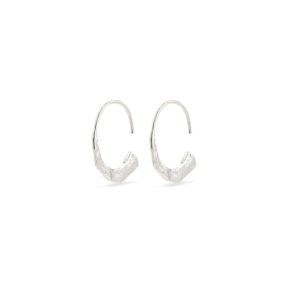 Valkyria Silver Hammered Semicircle Earrings - Two Hoots Gift Gallery